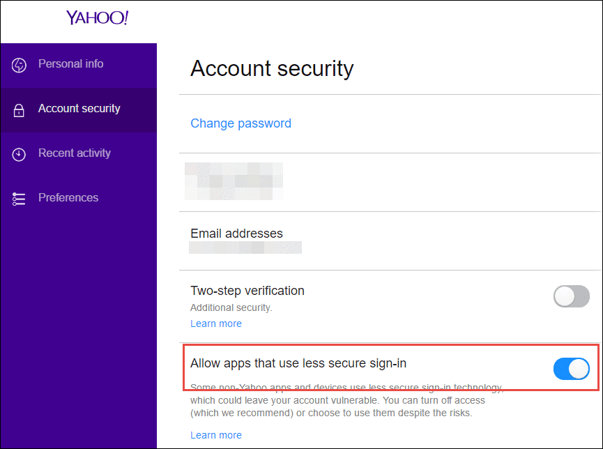 go to account security